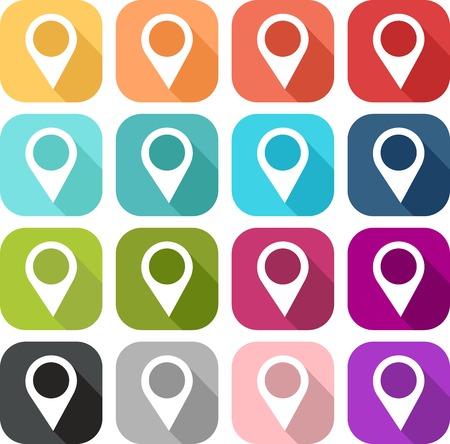 Illustration pour Pin icon set to indicate a place or information - image libre de droit