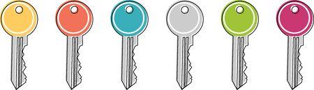 Illustration pour Icon of a colored key in the flat design style - image libre de droit