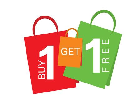 Illustration pour Sale banner Buy one get one free. Sale banner text on shopping bags - image libre de droit