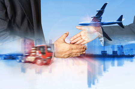 Double exposure of success businessman and container truck and freight cargo plane concept of  import-export commercial logistic ,shipping business industry