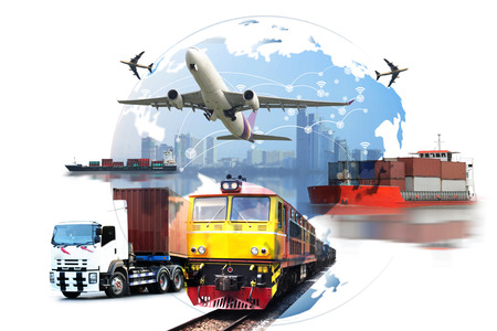 Photo pour Global business of Container Cargo freight train for logistic import export, Business logistics concept ,  Air cargo trucking , rail transportation , maritime shipping , On-time delivery  - image libre de droit