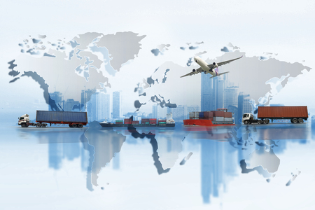 Photo pour Shipping, delivery car, ship, plane transport on a background map of the world - image libre de droit