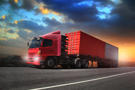 Foto de Transportation, import-export and logistics concept, container truck, transport and import-export commercial logistic, shipping business industry - Imagen libre de derechos