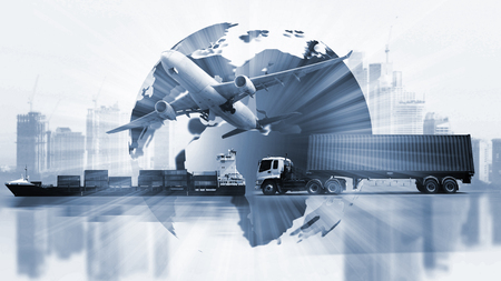 Photo pour Transportation, import-export and logistics concept, container truck, ship in port and freight cargo plane in transport and import-export commercial logistic, shipping business industry - image libre de droit