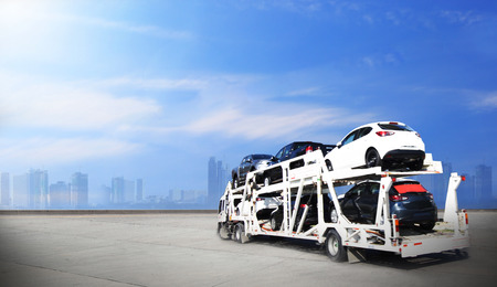 Photo for Truck run on road, Drive on road, transportation logistic concept - Royalty Free Image