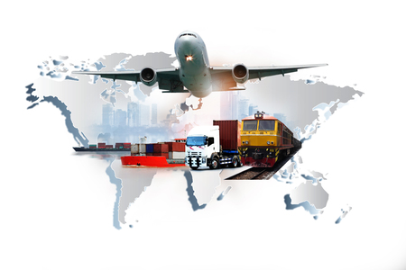 Photo pour The world logistics , there are world map with logistic network distribution on background and Logistics Industrial Container Cargo freight ship for Concept of fast or instant shipping - image libre de droit