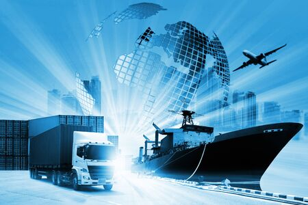 Foto de The world logistics  background or transportation Industry or shipping business, Container Cargo  shipment , truck delivery, airplane , import export Concept - Imagen libre de derechos