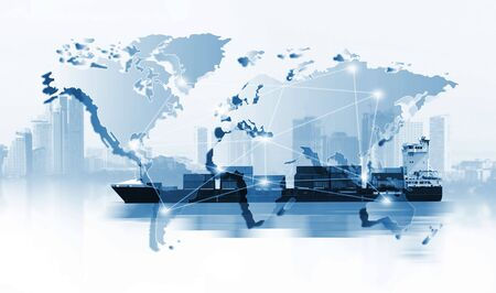 Photo pour The world logistics  background or transportation Industry or shipping business, Container Cargo  shipment , truck delivery, airplane , import export Concept - image libre de droit