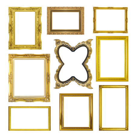 Photo for Set golden frame isolated on white background - Royalty Free Image