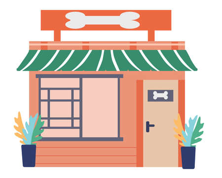 Illustration for Open shop for animals, a vector graphics - Royalty Free Image