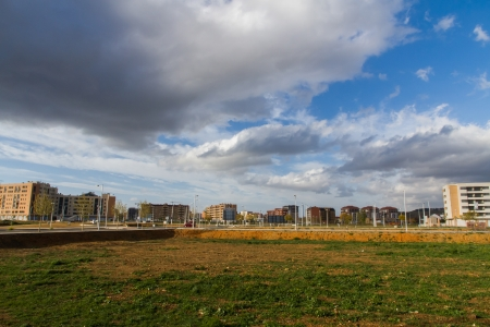 Photo for Cityscape polygon or housing development recently built  urbanized with empty lots but not built - Royalty Free Image