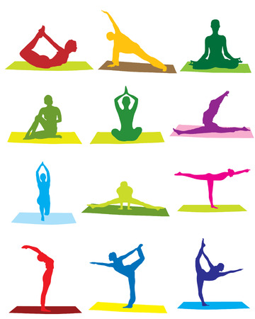 Yoga man and woman silhouettes
