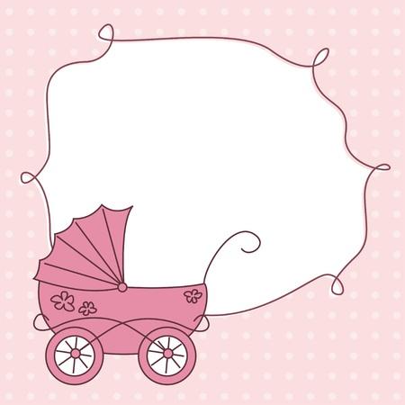 baby girl arrival announcement retro card 写真素材 ストックフォトの