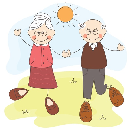 illustration of Happy cute grandparents together