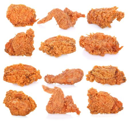 Photo pour Fried chicken isolated on white background. - image libre de droit
