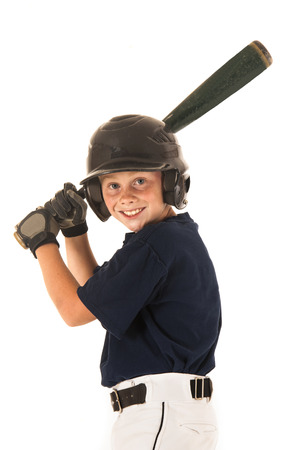 young baseball player batting right handed smiling