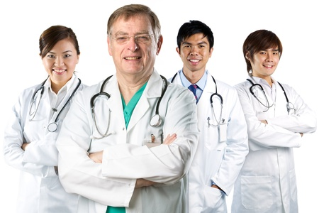 Four Asian doctor wearing a white coats with stethoscope's. Isolated on white.の写真素材