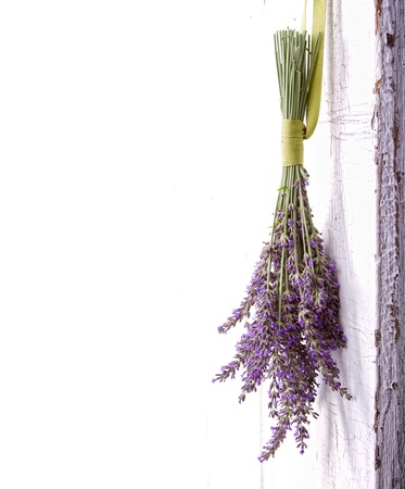 Lavendar hanging from an old vintage door, room for copy space