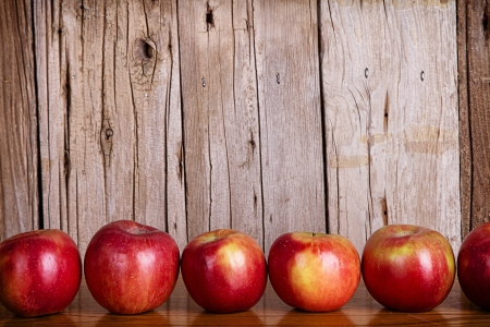Photo for Apples lined up in a row against a white rustic or vintage background - Royalty Free Image