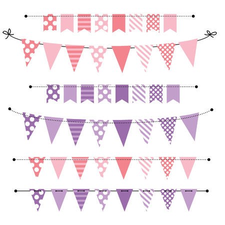 Pink And Purple Blank Banner Bunting Or Swag Templates For