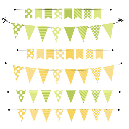 Green And Yellow Blank Banner Bunting Or Swag Templates For