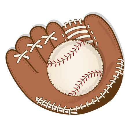 vintage baseball and baseball glove or mitt vector format