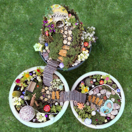 Birds Eye View Of Fairy Garden In A Flower Pot With Walking Path