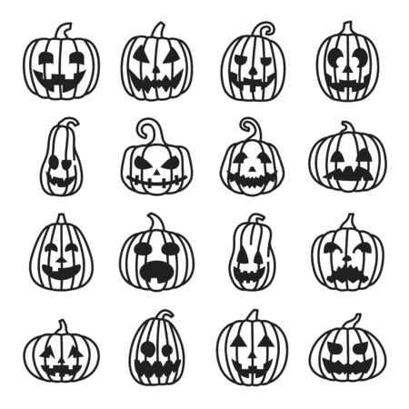 Illustration for Pumpkin Halloween line icons set, funny and scary faces. - Royalty Free Image