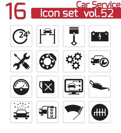 Vector black car service icons set