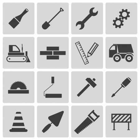 black  construction icons set