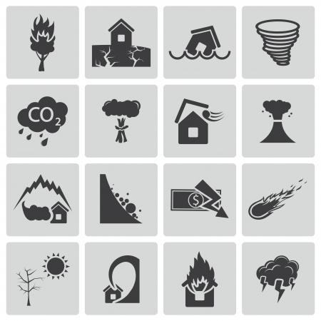 Illustration pour black  disaster icons set - image libre de droit