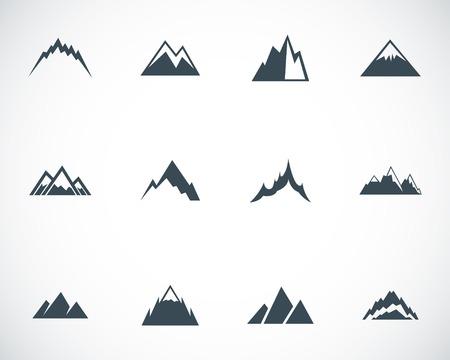 Illustration pour Vector black mountains icons set - image libre de droit