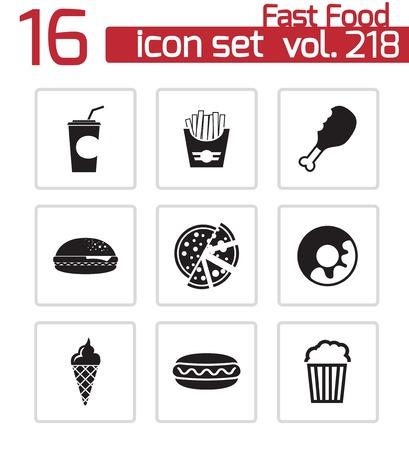 Illustration pour fast food icons set on white - image libre de droit