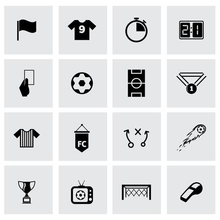 Ilustración de Vector black soccer icon set on grey background - Imagen libre de derechos