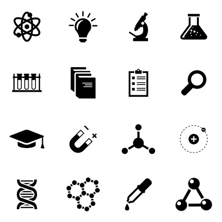 Vector black science icon set on white background