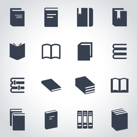 Illustration pour Vector black book icon set on grey background - image libre de droit