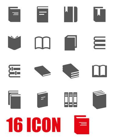 Illustration pour Vector grey book icon set on white background - image libre de droit