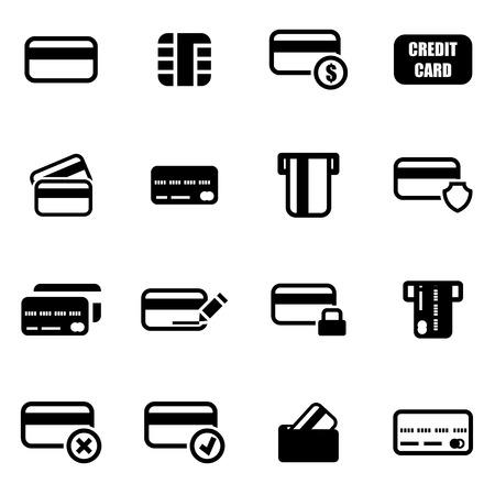 Ilustración de Vector black credit card icon set on white background - Imagen libre de derechos
