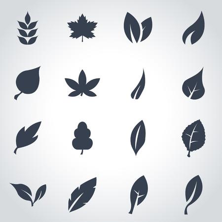 Vector black leaf icon set on grey background