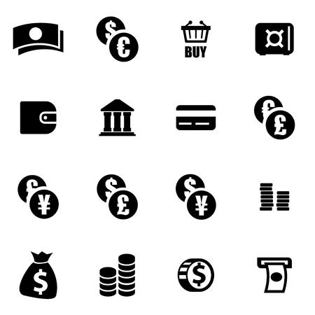 Vector black money icon set on white background