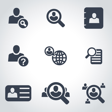 Vector black people search icon set  on grey background