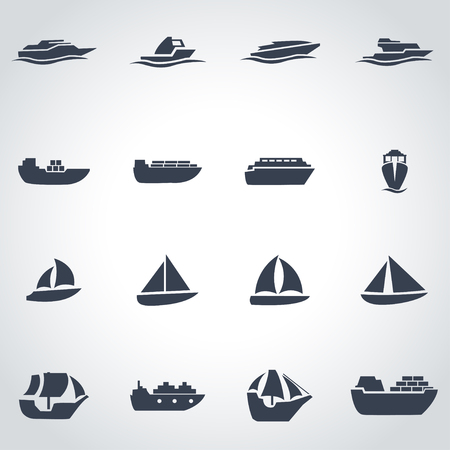 Vector black ship and boat icon set on grey background