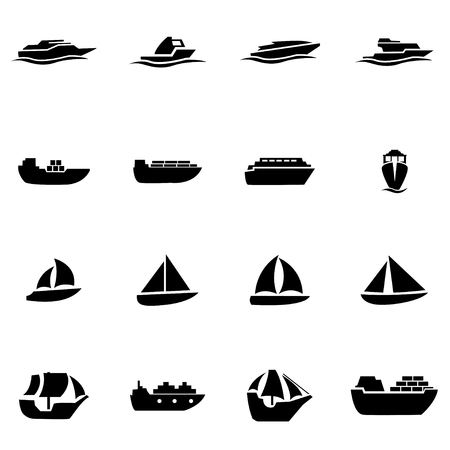 Vector black ship and boat icon set on white background