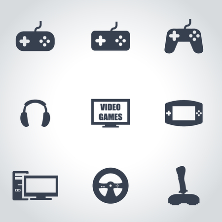 Vector black video games icon set on grey background