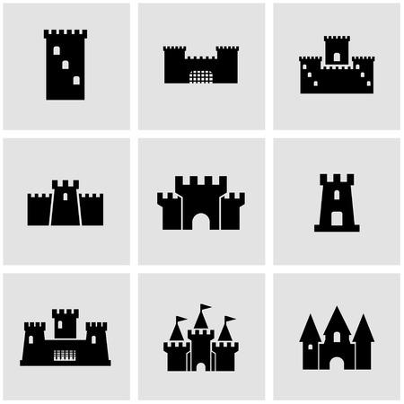 Vector black castle icon set.