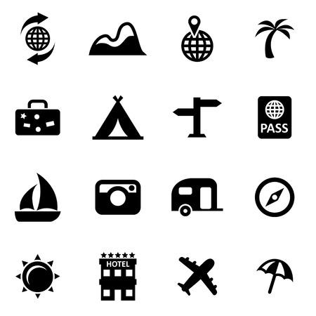 Illustration pour Vector black travel icon set  - image libre de droit
