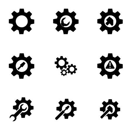 Ilustración de black tools in gear icon set - Imagen libre de derechos