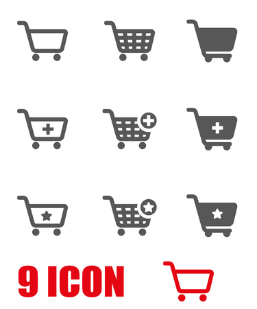 Vector grey shopping cart icon set. Shopping cart Icon Object, Shopping cart Icon Picture, Shopping cart Icon Image