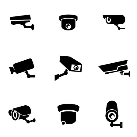 Illustration for Vector black security camera icon set. Security Camera Icon Object, Security Camera Icon Picture, Security Camera Icon Image - stock vector - Royalty Free Image