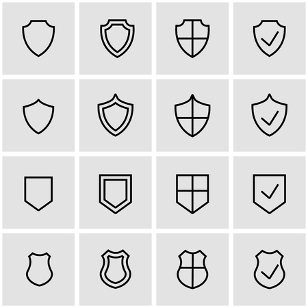 Photo pour Vector line shield icon set. Shield Icon Object, Shield Icon Picture, Shield Icon Image - stock vector - image libre de droit